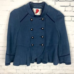 Free People Cropped Blue Knit Military Jacket